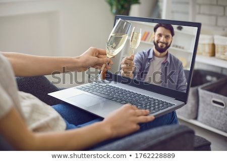 cyber woman drinks drink Stock photo © studiostoks