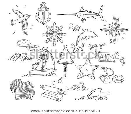 Vector hand drawn set of dolphins Stock photo © netkov1