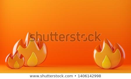 Fuoco fiamma 3D nero Foto d'archivio © giko
