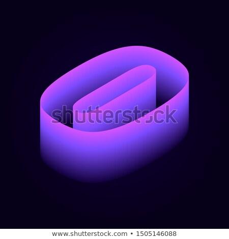 Stok fotoğraf: Black Outline Font Number 0 Zero 3d