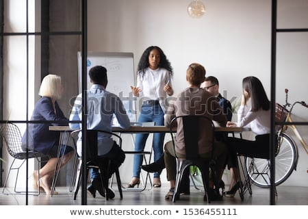 Boss Giving Presentation, Workers by whiteboard Stock photo © robuart