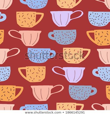 Karikatür sevimli karalamalar çay ev Stok fotoğraf © balabolka