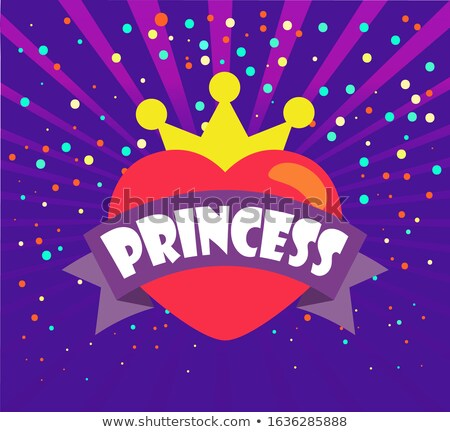 Princess, Heart and Crown, Ribbon and Confetti Stock photo © robuart