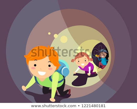Stickman Kids Crawl Tunnel Flashlight Illustration Stock photo © lenm