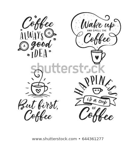 kahve · menü · kara · tahta · ayarlamak · içecekler - stok fotoğraf © foxysgraphic