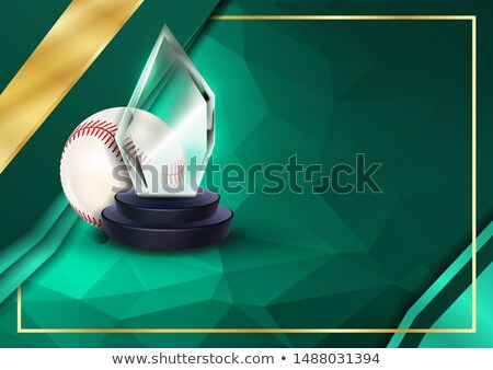 Baseball Certificate Diploma With Glass Trophy Vector. Sport Vintage Appreciation. Modern Gift. Prin Stock photo © pikepicture