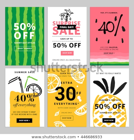 Summer Sale Offers Set Poster Vector Illustration Stock photo © robuart