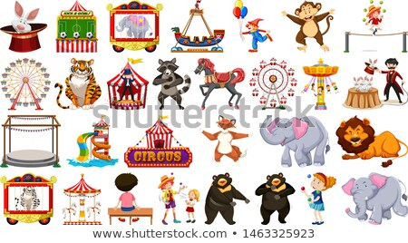 Huge circus collection with mixed animals, people, clowns and ri Stock photo © bluering