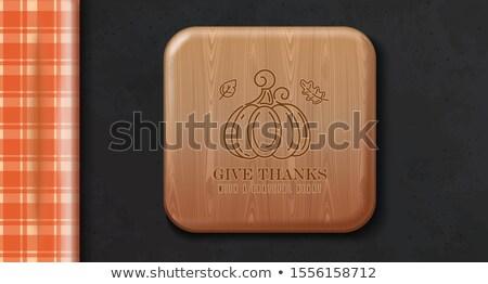 Drewniany stół pomarańczowy obrus wektora obraz odizolowany Zdjęcia stock © robuart