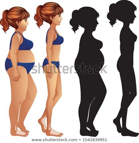 sovány · étel · egészség · tornaterem · fiatal · kövér - stock fotó © bluering