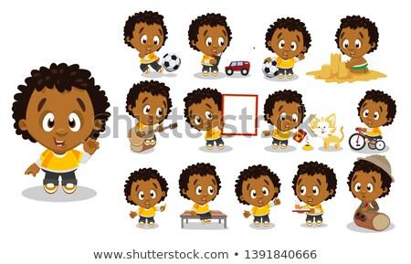 Fronte view cute african american scolaro giocare Foto d'archivio © wavebreak_media