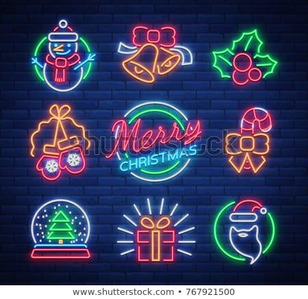 クリスマス ネオン セット グリーティングカード テンプレート ストックフォト © Voysla
