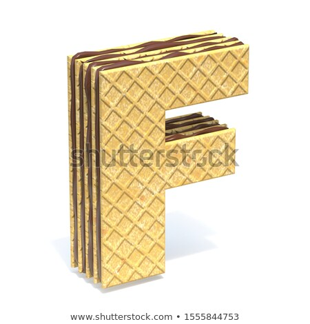 Waffles font with chocolate cream filling Letter F 3D Stock photo © djmilic