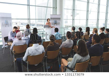 Vorderseite Ansicht weiblichen Lautsprecher Laptop Business Stock foto © wavebreak_media