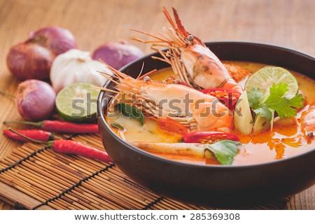 Nyamm hagyományos thai leves tengeri hal gombák Stock fotó © karandaev