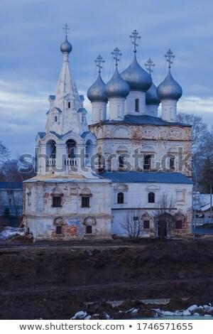 Kerk Rusland rivier gebouw zonsondergang kruis Stockfoto © borisb17