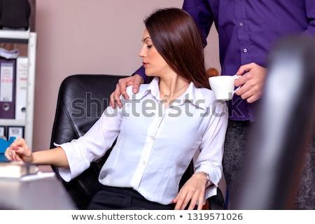 Handen schouders baas aanraken schouder vrouwelijke Stockfoto © AndreyPopov