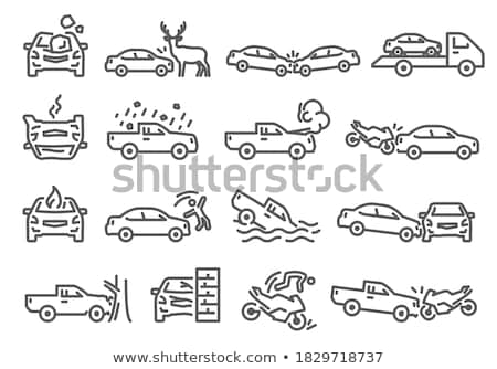 Crash Car Wall Icon Vector Outline Illustration Stock photo © pikepicture