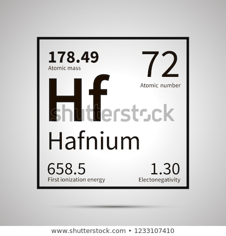 Hafnium chemical element with first ionization energy, atomic mass and electronegativity values ,sim Stock photo © evgeny89