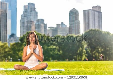 Yoga woman meditation praying outside in city park wellness banner panorama .Summer exercise lifesty Stock photo © Maridav