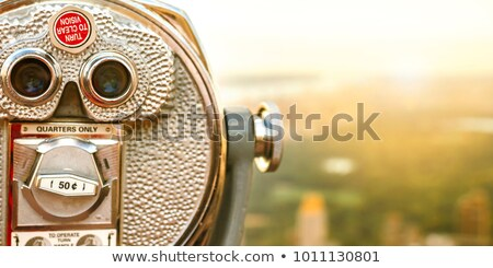 New York City tourism travel background tourist icon - coin operated binocular tower viewer with sky Stock photo © Maridav