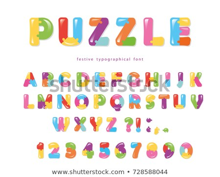 Stock photo: Glossy colorful puzzle set