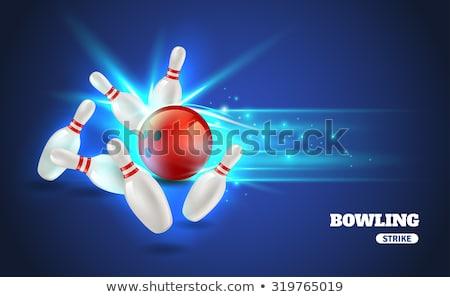 Bowling strajk odizolowany biały sportowe zabawy Zdjęcia stock © m_pavlov