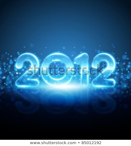 Blue vector neon New Year card 2012 Stock photo © orson