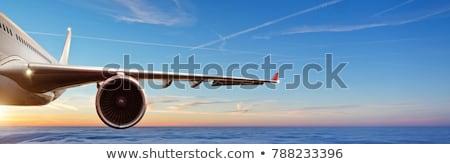 Flying plane wing and motor Stock photo © Elenarts