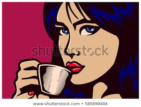 beleza · menina · copo · café · anúncio · cartaz - foto stock © HASLOO