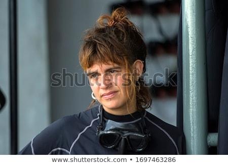 mergulho · mulher · molhado · terno · máscara - foto stock © hasloo