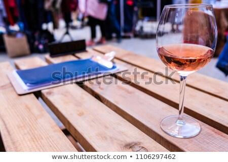ресторан таблице красную розу романтические красный Сток-фото © klsbear