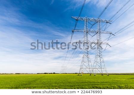 voltage · elektrische · paal · zonsondergang · draden · woestijn - stockfoto © mahout