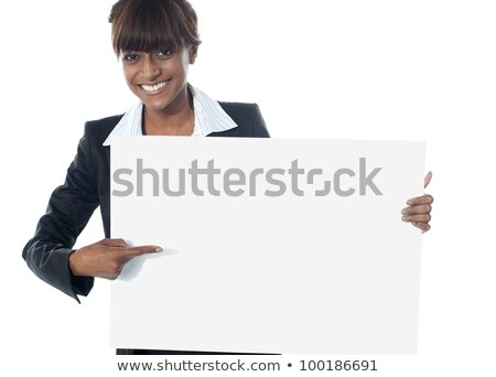 femme · pointant · presse-papiers · isolé · blanche - photo stock © stockyimages