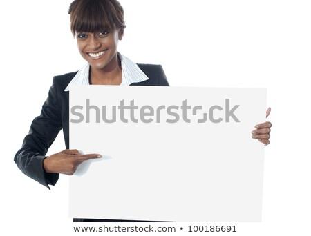 herrlich · Frau · Hinweis · Zwischenablage · isoliert · weiß - stock foto © stockyimages