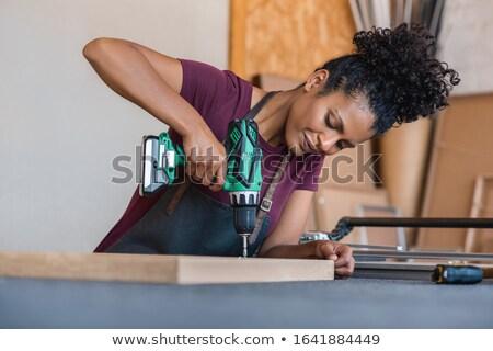 женщину · дрель · стороны · работу · волос · работник - Сток-фото © photography33