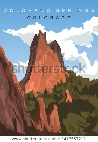 nagy · piros · hegy · kék · ég · kép · víz - stock fotó © macropixel