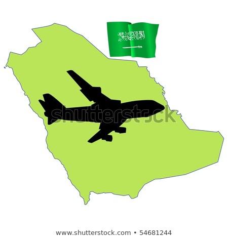 Volar me Arabia Saudita mapa avión país Foto stock © perysty