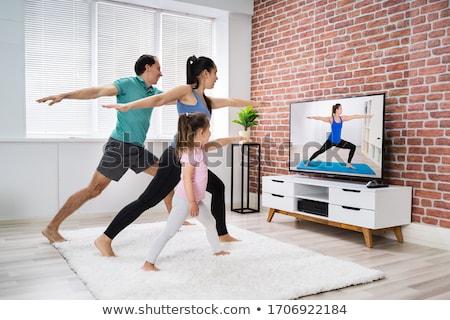 ejercicio · casa · azul · hombre · fitness - foto stock © wavebreak_media