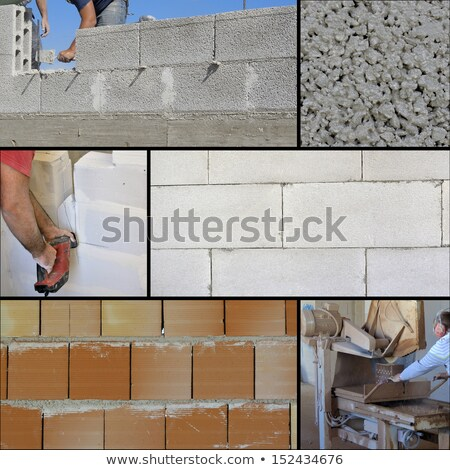 materiales · de · construcción · collage · básico · concretas · mezclador · centro - foto stock © photography33