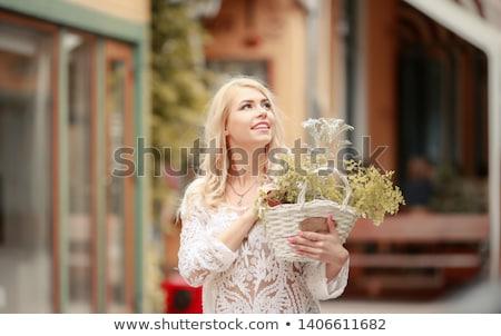bevallig · jonge · dame · tonen · ongebruikelijk · Rood - stockfoto © acidgrey
