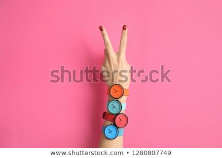 стороны Смотреть женщины изолированный белый вертикальный Сток-фото © ABBPhoto
