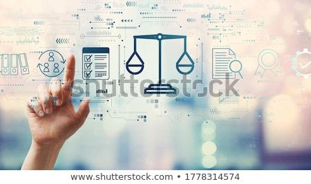 dienst · Blauw · raadpleging · knop · klanten · moderne - stockfoto © tashatuvango