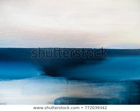 Schilderij Blauw schilder hand muur Stockfoto © tilo