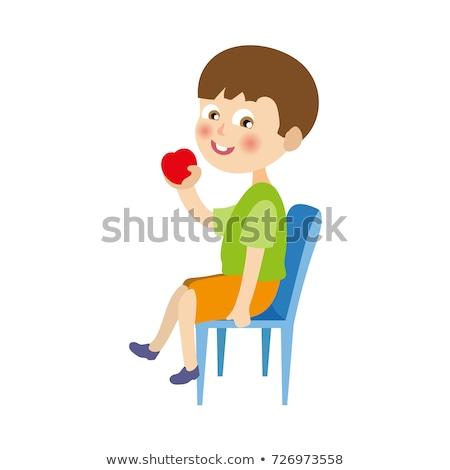 cute · bebé · nino · comer · manzana · cubierto - foto stock © chesterf