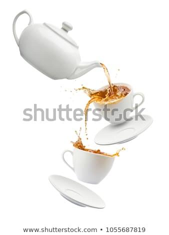 áramló tea teáscsészék fekete ital csésze Stock fotó © MKucova