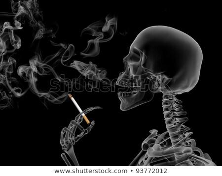 Skull smoking a cigarette - 3D render Stock photo © Elenarts