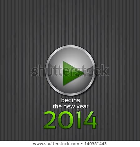Nieuwjaar 2014 start knop vector Rood Stockfoto © burakowski