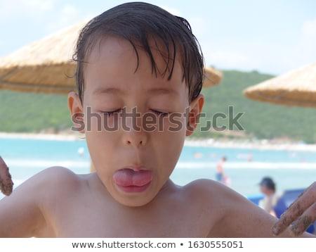Jovem cabelo castanho jogar belo natação Foto stock © meinzahn