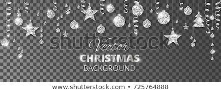 glitter silver christmas baubles decoration holidays isolated stock photo © juniart